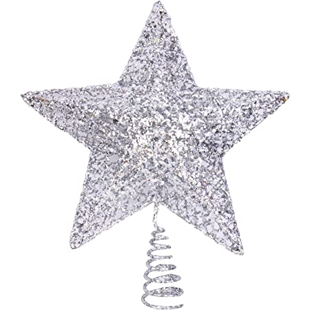 OSOPOLA Christmas Tree Topper Star Five-Pointed Treasures Glittered Star Tree Ornaments Decoration for Christmas Home Party Festival Red 6