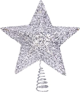 Boieo Silver Glitter Five-Pointed Star Christmas Tree Toppers 8