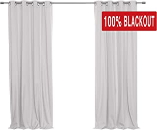 Best Home Fashion Linen Textured Grommet Thermal Total Blackout Curtains - Light Grey - 52