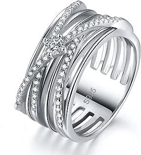 Zetaur Cross S925 Sterling Silver Created White Topaz Round Brilliant Cut CZ Multi Row Cross Band Ring Wedding Engagement Anniversary Statement Eternity Ring