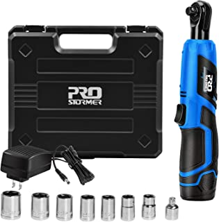 "3/8"" Cordless Ratchet Wrench Set, PROSTORMER 12V Electric Ratchet Tool Kit with.."