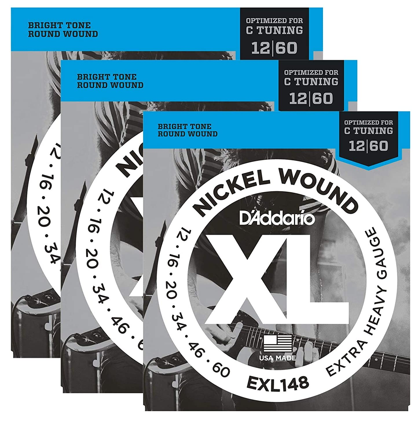 3 Pack D'Addario EXL148 Extra Heavy Drop C Tuning Electric Guitar Strings