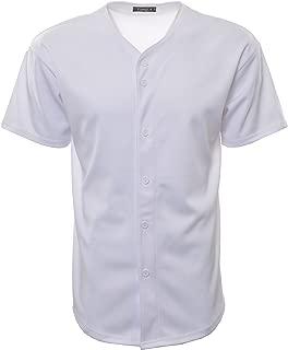 Men's Baseball Jersey T-Shirts Plain Button Down Sports Tee 303