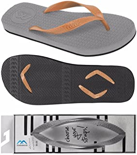 Boomerangz Regular Fit Flip Flops (Men's) Colour: Grey/Black + Interchangeable Straps (Additional) [Combo Offer]
