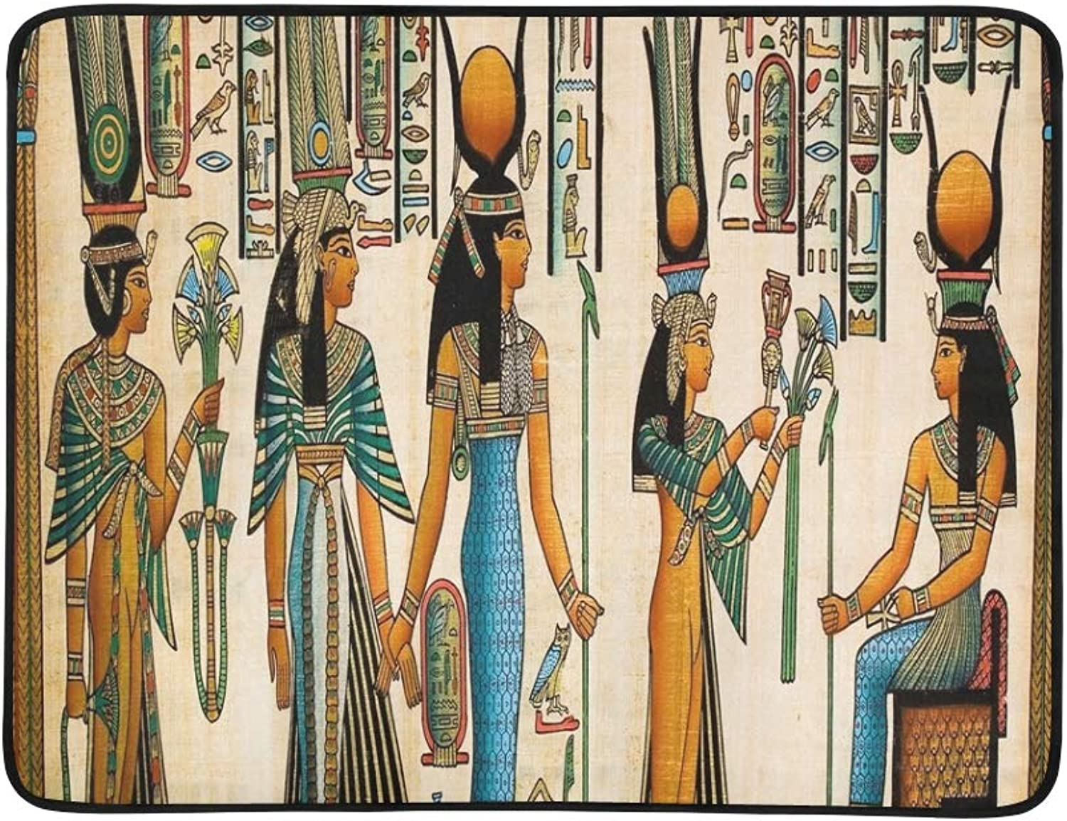 Papyrus Showing Queen Nefertari Making Offering Portable and Foldable Blanket Mat 60x78 Inch Handy Mat for Camping Picnic Beach Indoor Outdoor Travel