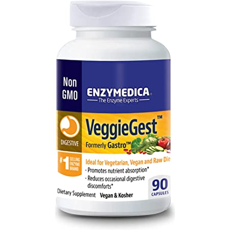 Enzymedica, VeggieGest, Digestive Enzymes for Vegan, Vegetarian and Raw Diets, 90 Capsules
