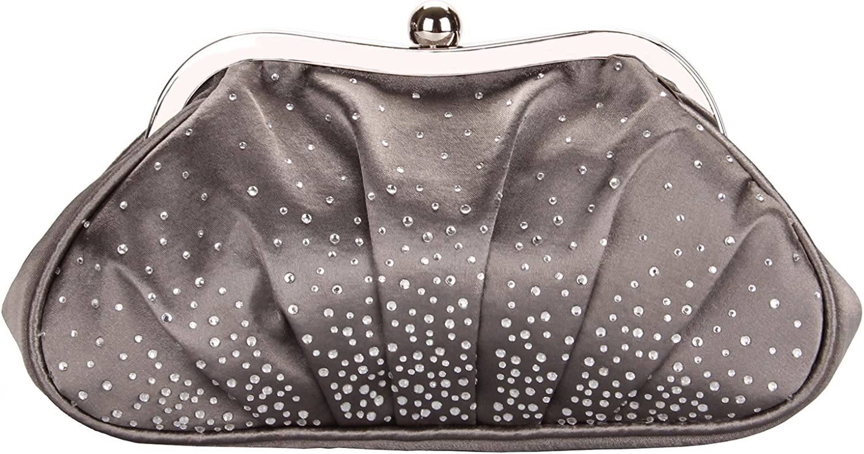 Grace Angel Women's Elegant Satin Scattered Rhinestones Evening Handbag GA12576