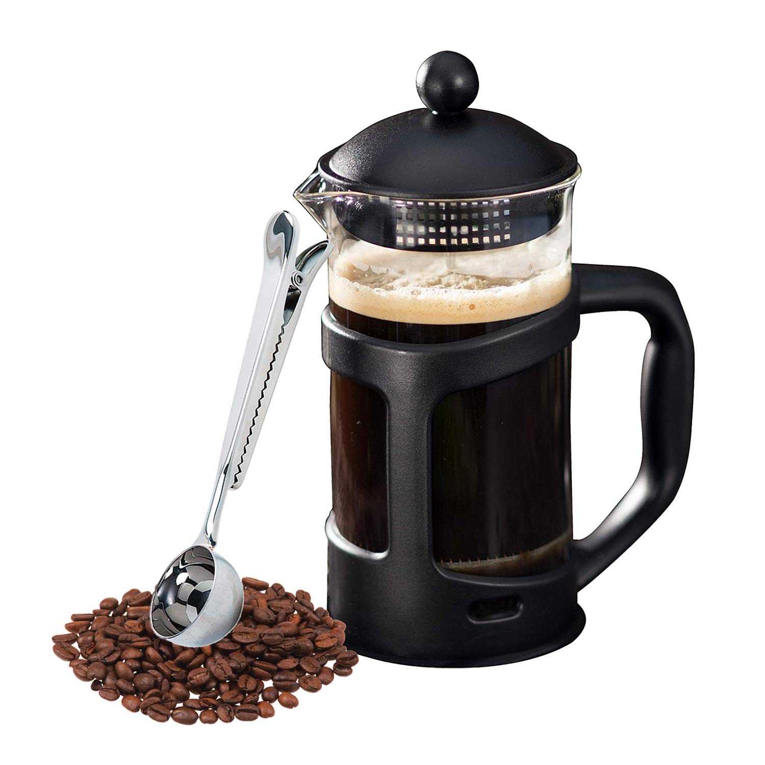 Amazon Com French Press Coffee Maker And Scoop Clip Gift Combo Set Kitchen Dining