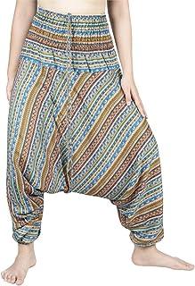 LOFBAZ Yoga Harem Pants for Women Elephant Boho Hippie Bohemian Beach Jumpsuit