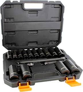 ABN Impact Socket Set – 17 Piece 1/2 Inch Deep Impact Driver Sockets and Extension Bars, 6 Point SAE Socket Set