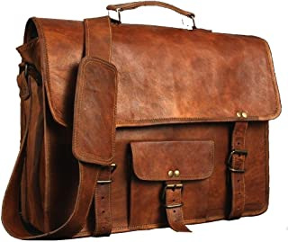 ANUENT Laptop Bags Vintage Soft Leather Messenger Brown Real Laptop Satchel Bag Genuine Briefcase A (15 INCHES)