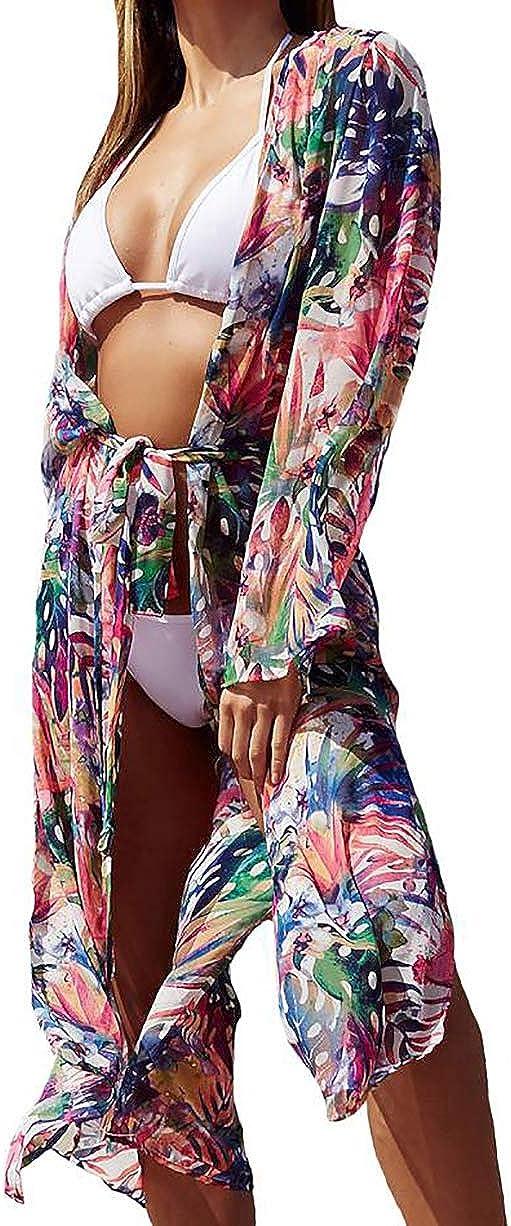 Bestyou Women's Beach Blouses Kimono Cardigan Sexy Sheer Bikini Bathing Suit Cover Up Swimwear