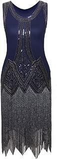 Vijiv Vintage 1920s Full Fringed Tassel Beads Sequin Long Cocktail Flapper Dress