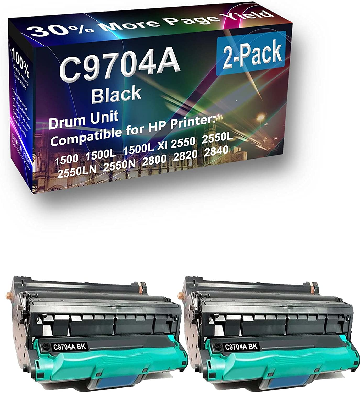 2-Pack Compatible C9704A Drum Kit use for HP 1500 1500L 1500LXI Printer (Black)