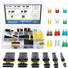 Glarks 1 2 3 4 5 6 Pin Waterproof Car Auto Electrical Wire Connector Terminal Plug with 5-30 AMP Blade Fuses Assortment Kit for Motorcycle, Scooter, Car, Truck, Boats