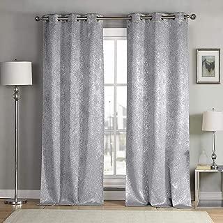 kensie Maddie Silver Metallic Textured Blackout Darkening Grommet Top Window Curtains Pair Drapes for Bedroom, Living Room-Set of 2 Panels, W38 X L96