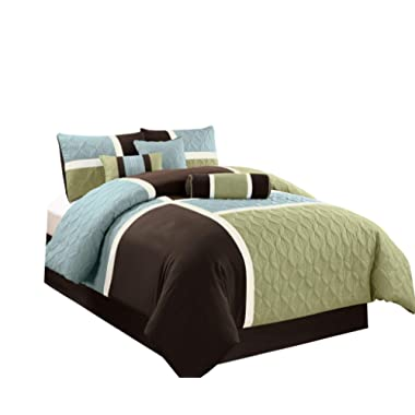 Chezmoi Collection 7-Piece Quilted Patchwork Comforter Set (King, Aqua Blue/Sage Green)