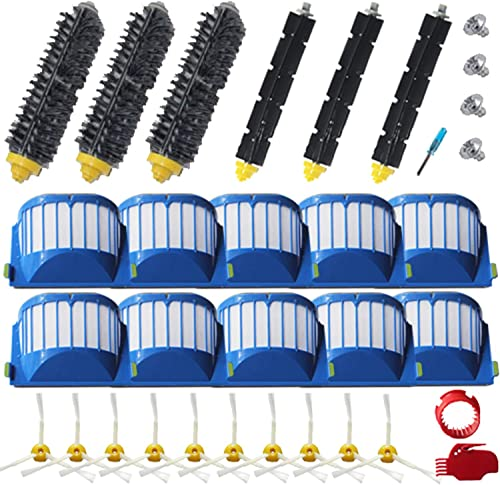 Amyehouse Replacement Parts Bristle & Flexible Brushes & Filters & Side Brush & Cleaning Tools for iRobot Roomba 600 ...