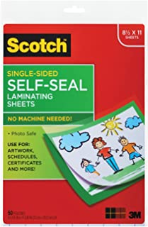 Scotch Self-Seal Laminating Sheets, 50 Sheets, Single Sided, Letter Size (LS854SS-50)
