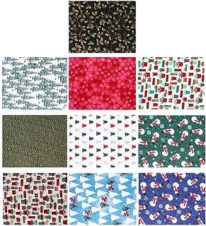 HEALLILY 10 folhas de tecido de algodão de Natal para artesanato em retalhos de Natal tecido acolchoado xadrez tecido quad...