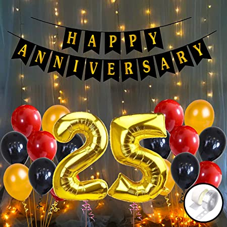 Party Propz 25th Happy Anniversary Decoration Items with LED Light Banner, Balloons, Arch, Glue Dot 56Pcs Set for 25th Party Room Decoration Combo Set/Couple Wedding,Marriage Celebration