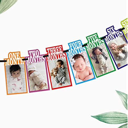 SYGA 1 to 12 Month Rainbow Baby and Couple Banner with Front Side Photo Space & Sweet Memory Writing Space Back Side of Banner