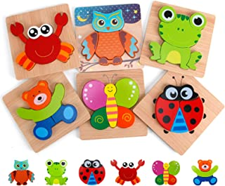 Slotic Wooden Puzzles for Toddlers - Animal Jigsaw...