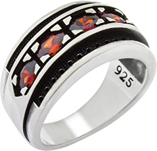 Solid 925 Sterling Silver Simulated Red Ruby CZ Cubic Zirconia Stone Special Design Luxury Band Ring for Men