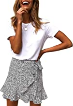 Jyccr Women Summer Casual Ruffle Asymmetrical Hem High Waist Cute Mini Skirt