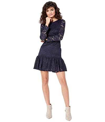 Bardot Rubi Long Sleeve Lace Dress (Navy) Women