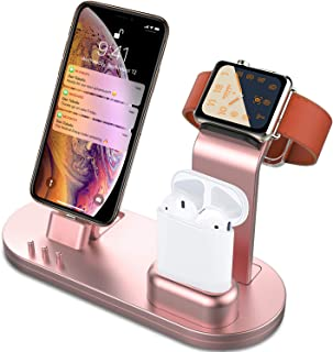 OLEBR 3 in 1 Charging Stand Compatible with iWatch Series 5/4/3/2/1, AirPods and iPhone 11/Xs/X Max/XR/X/8/8Plus/7/7 Plus /6S /6S Plus(Original Charger & Cables Required) Rose Gold