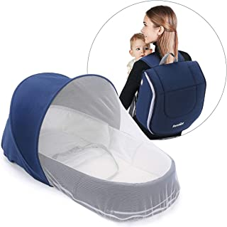 FORSTART Baby Snuggle Nest|Baby Lounger|Baby Diaper Bag for Travel|Infant Sleeper|Portable Baby Bed or Bassinet with Free Diaper Changing Pad|Canopy and Bug Net Included