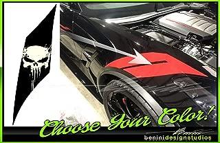 Corvette C7 Grand Sport Punisher Fender Hash Marks Stripes 2016 2017 2018 2019 2 (Driver & Passenger Carbon Flash Metallic Gloss Black,)