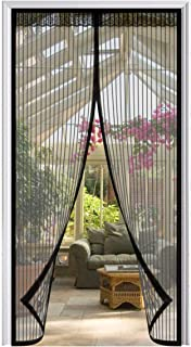LOOCH Magnetic Screen Door with Heavy Duty Mesh Curtain and Full Frame Velcro Fits Door Size up to 34-82 Max-Black