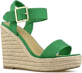 aa2fd60be5f6 Premier Standard Women s Peep Toe Ankle Strap Buckle Espadrille Wedge  Sandals