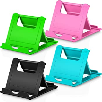 "Phone Stand, 4pack Cellphone Holder (4-7.9"")stands Foldable Multi-angle for desk lightweight Desktop Dock Cradle Compatible for iPhone Xs Max XR 8 Plus 6 7 6S X 5 (Black Blue Green Pink)"