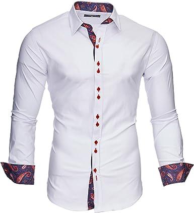 Kayhan Camisas Hombres Camisa Hombre Manga Larga Ropa Camisas de Vestir Slim fácil de Hierro Fit SML XL XXL-6X - Modello Royal