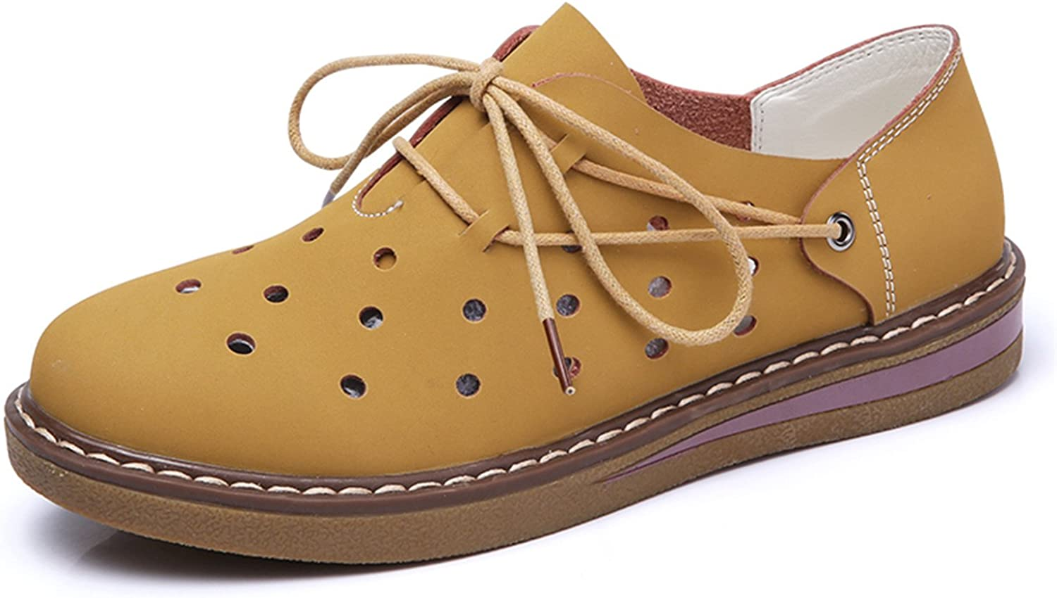 Mandaartins Women Flats shoes Cutout Lace up Loafers Oxford shoes Moccasins Boat shoes