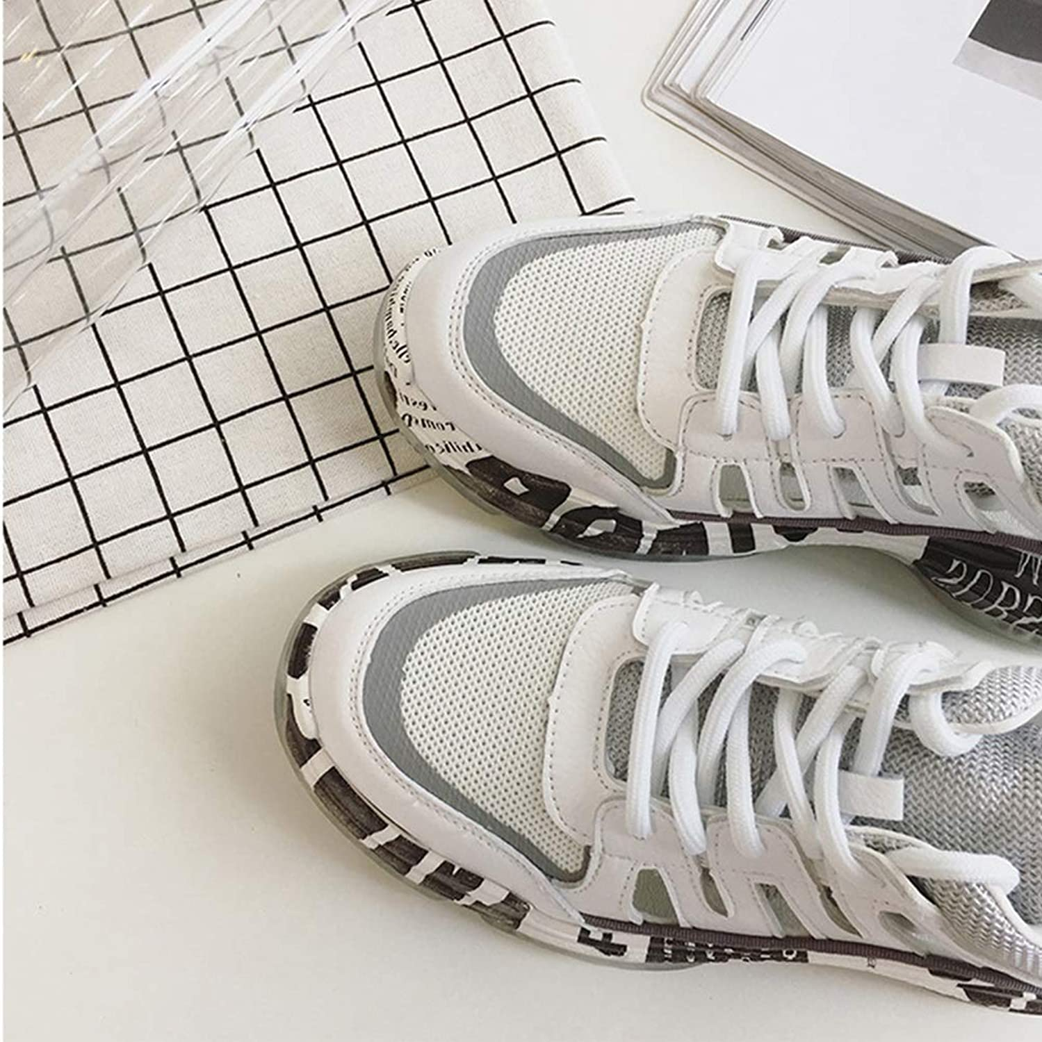 Women's shoes Increased Breathable, Anti-Static Sneaker Fashion Comfort Mesh Sneakers Breathable Impact Resistant Trainers shoes Camping Gym Park (color   A, Size   35)