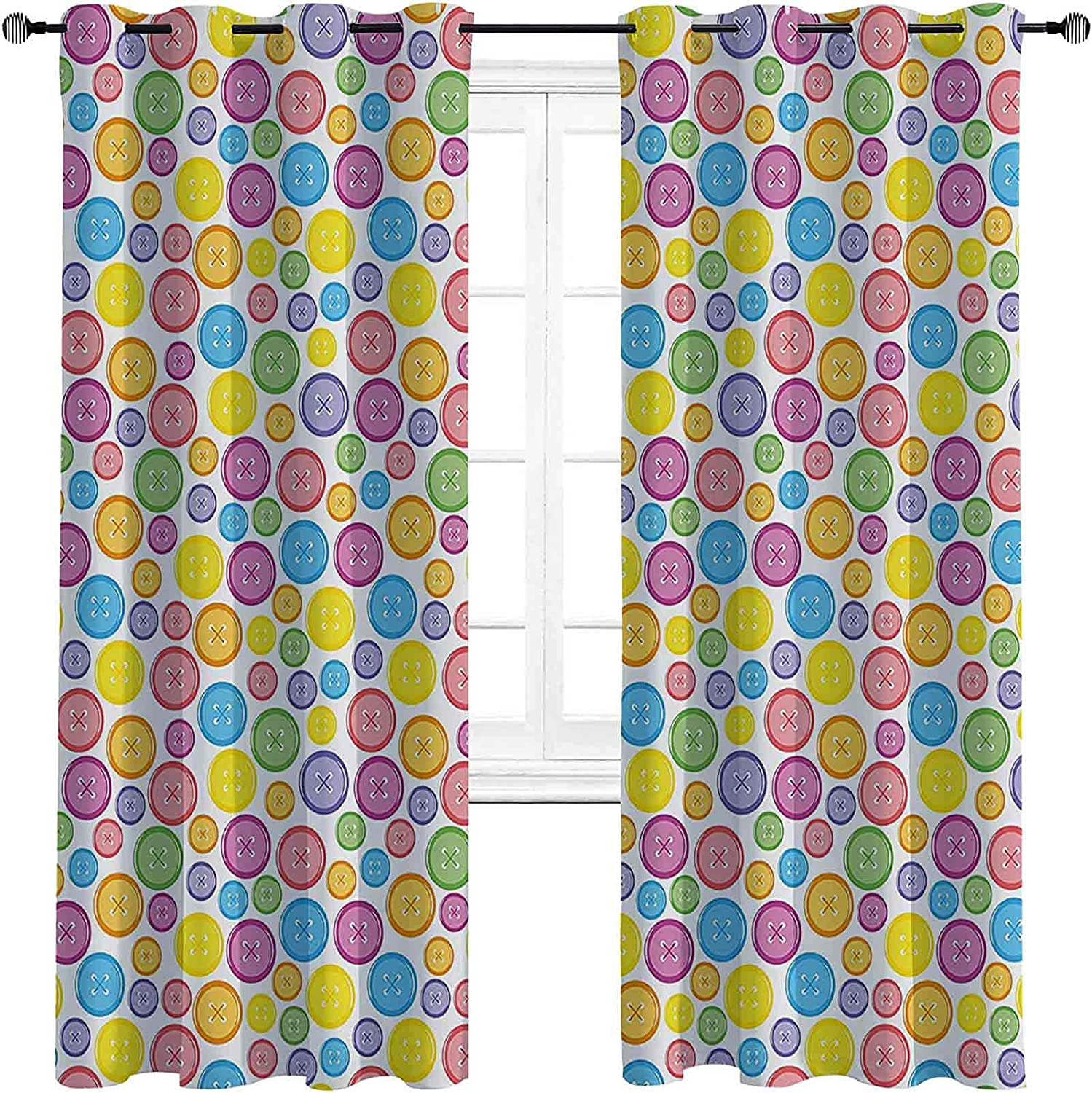 Modern Bedroom Blackout Curtains Shaped Patter Max 85% NEW before selling ☆ OFF Circular Buttons