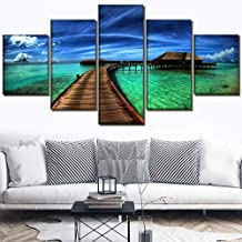 ZDLYY 5 piece kit frame canvas print modular painting ocean sky tropical poster wall landscape picture product living room home decoration art gift,40x60(2piece)40x80(2piece)40x100(1piece)(cm)