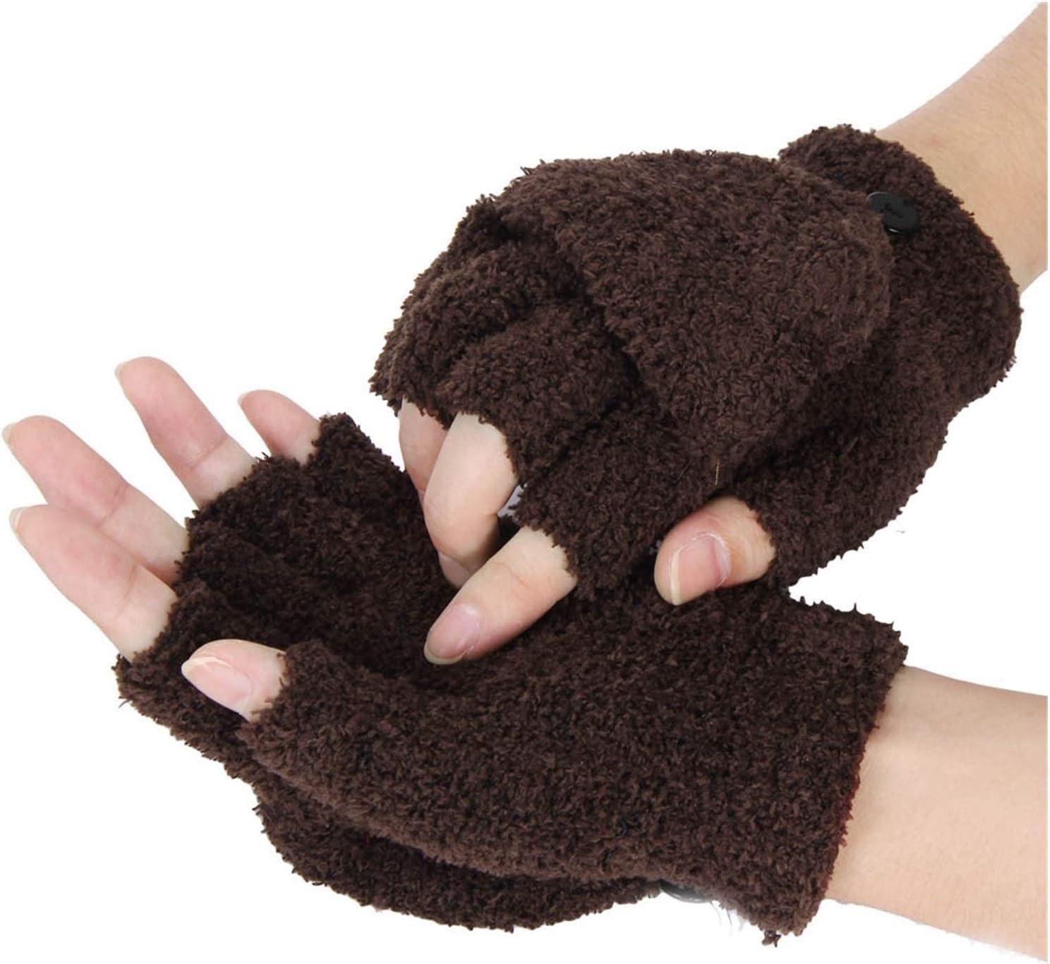 Lupovin-Keep Warm Fashion Winter Gloves Women Girls Wrist Ardent Winter Ladies Fingerless Gloves Mittens Ladies Half Finger Gloves Winter Non-Slip (Color : CO)