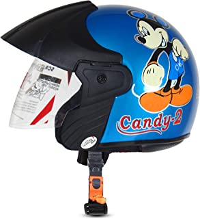 ACTIVE CANDY-2 Open Face Face Helmet for Kids from 3 to 6 Years (BLUE,Size-Extra Small)(CARTOON CHARACTERs MAY VERY) (BLUE)