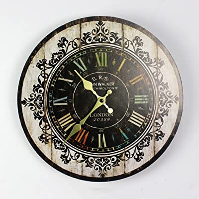 XJRHB Home Accessories Vintage Wall Clocks Wooden Creative Wall Decoration Round Clocks Mute 6 Models Available