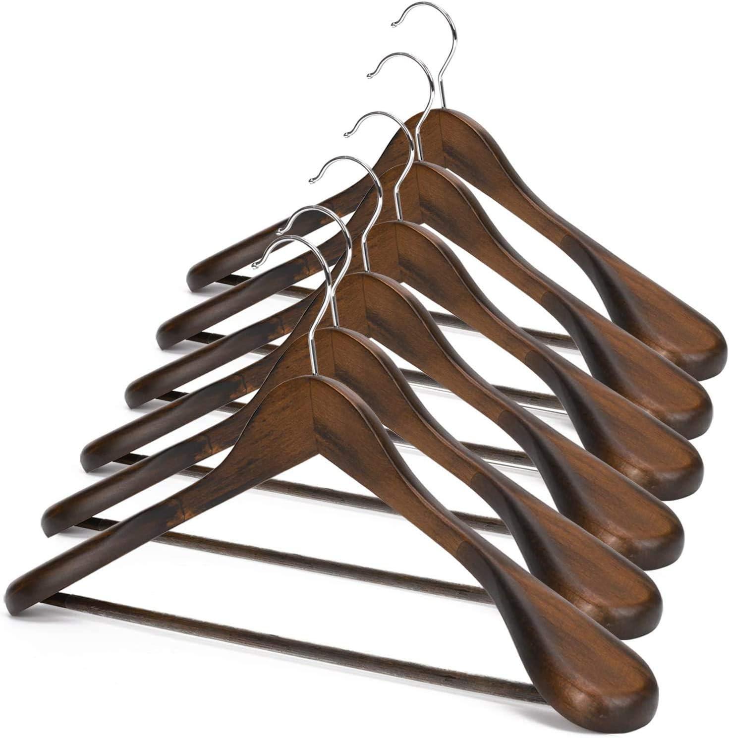 JS Max 82% OFF HANGER Wooden Suit Hangers 6 Pack C Shoulder Extra-Wide Wood Luxury