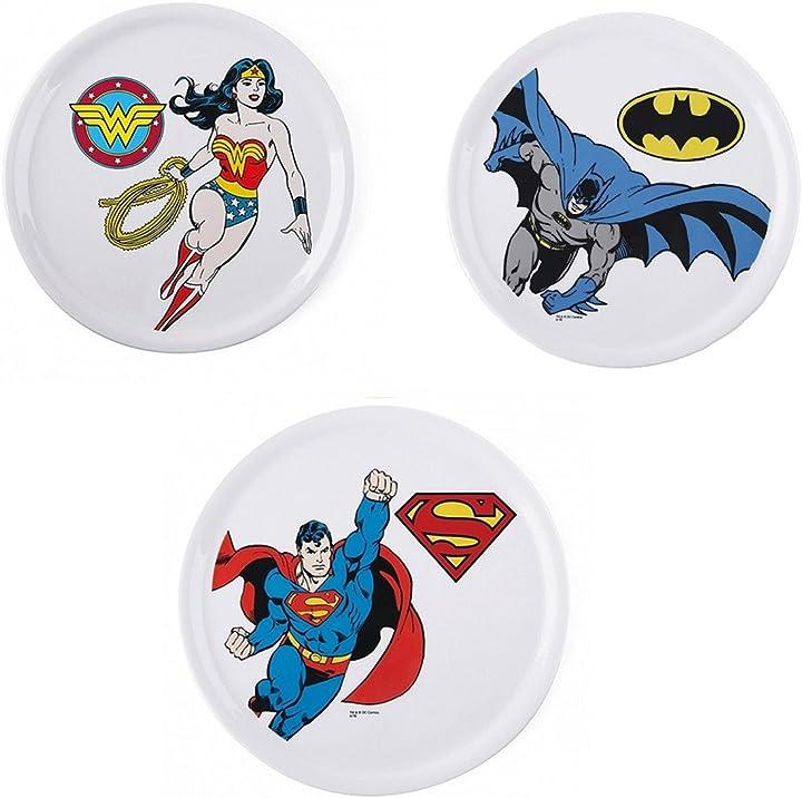 piatti pizza super eroi af interni set 3 piatto pizza porcellana batman superman e wonderwoman b07ff5sy32