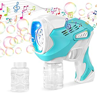 Fixget Bubble Gun with 2 Bottles Bubble Solutions, Automatic Bubble Maker Blower Machine with Music and Light, Outdoor Ind...