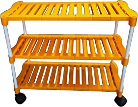 UNIVERSAL Multi-Purpose Steel Foldable Shoe Rack with Shelves with Wheels (Plastic Steps and Powder Coated Rods, Mango) (3 Steps)