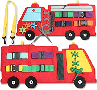 Busy Board, Firetruck Preschool Educational Early Learning Toy for Toddler, Basic Life Skills and Fine Motor Montessori Activities for Kids, Learn to Dress Sensory Toy as Airplane or Car Travel Game