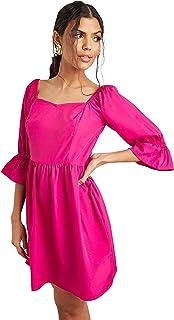 فستان قصير للنساء باكمام نمط 3/4، لون واحد مع قبة بشكل قلب